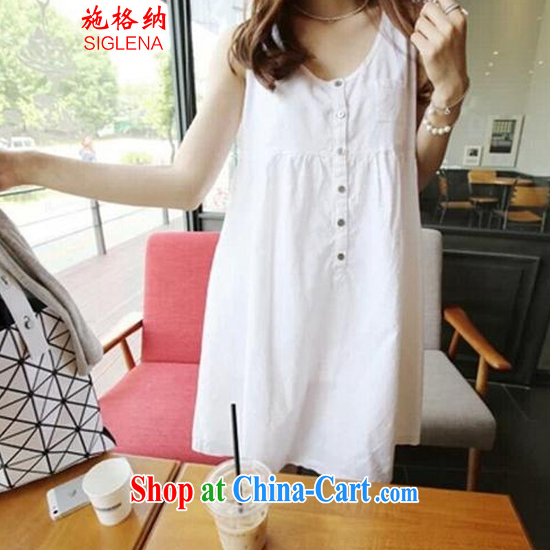 Rate the 2015 summer new Korean fashion ladies shaggy skirts dresses loose sleeveless high waist cotton the doll skirt thick MM skirt 9701 white M