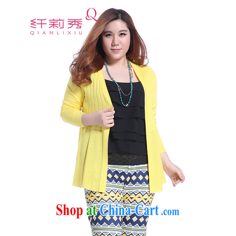 Slim LI Sau 2014 autumn new larger female OL commuter cultivation knitting cardigan Q 3903 yellow XXL
