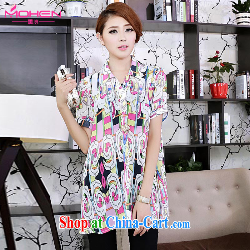 The ink marks summer 2014 new Korean version the Code women mm thick 2014 summer new Korean fashion stamp lapel thick sister T-shirt icon color 4 XL (suitable for 165 - 180 jack)