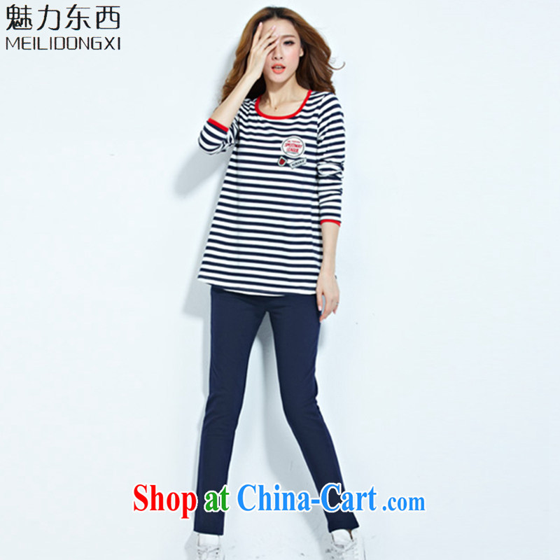 What charm 2015 summer streaks, campaign very casual striped long-sleeved shirt T Package Women T 7128 BMW blue XXXXL