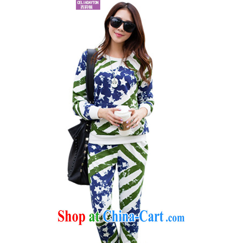 Ms. Cecilia Clinton's large, female sports suits women 2014 autumn and winter new the fat and loose cotton 2 piece set thick MM sweater Leisure package green XXXL