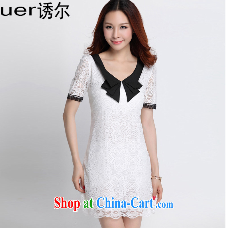 By 2015, child for long-sleeved lace dresses solid dress thick mm spring new and indeed XL female A 8082 white XXXXL