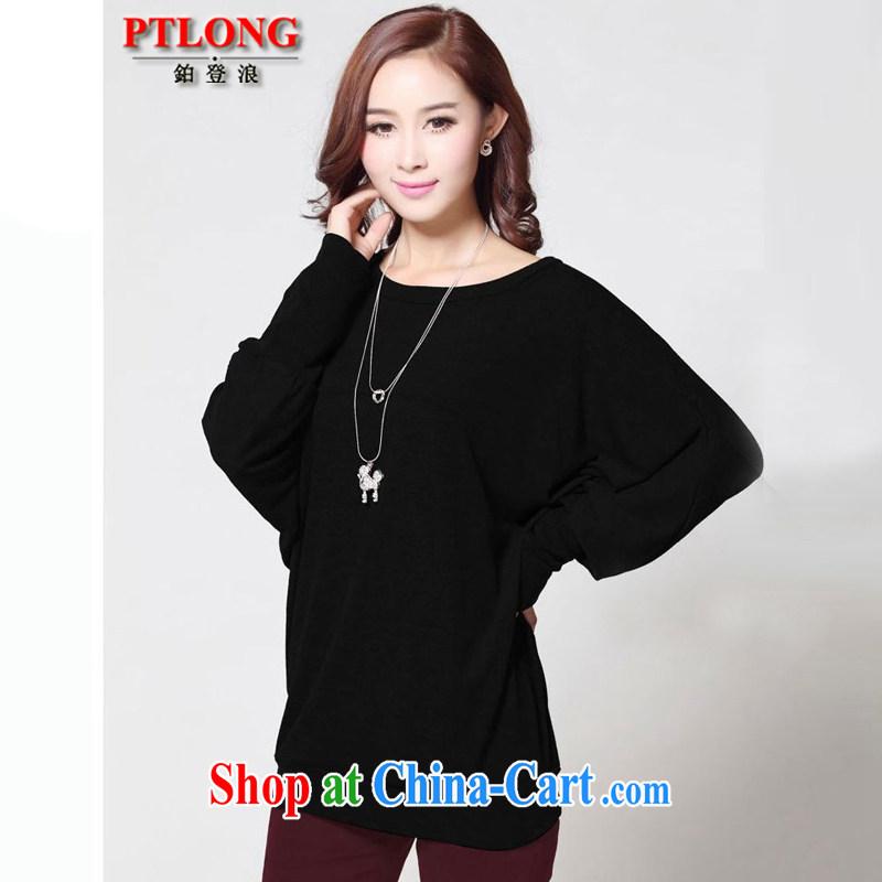 Platinum sign wave _PTLONG_ larger female Korean autumn and winter, long-sleeved bat sleeves solid T-shirt, wearing a long-sleeved T-shirt black XXXXL