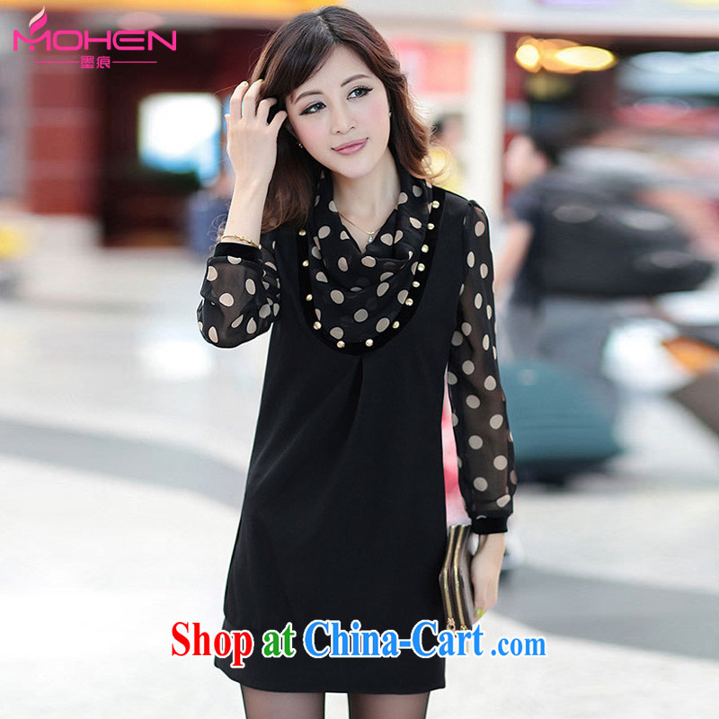 The ink marks 2014 the fertilizer XL female OL commuter Korean snow woven wave point stamp stacks for long-sleeved the hem graphics thin dresses beauty pencil skirt black 2 XL (suitable for 135 - 150 jack)