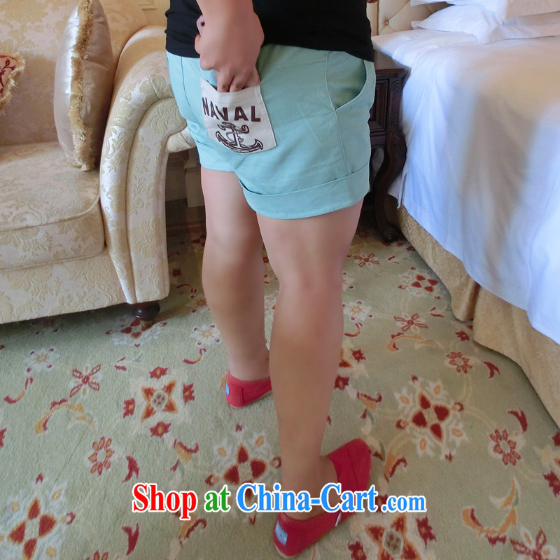 Addiction is larger female pants thick mm summer graphics thin thick sister larger pants pants roll-code shorts X 22 green XL
