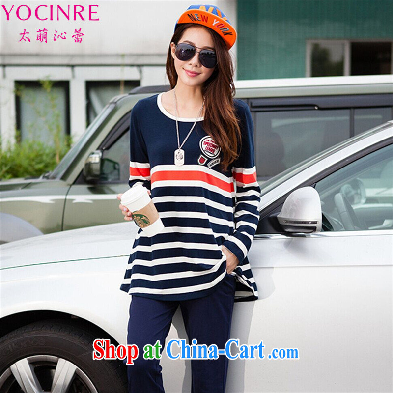 too wide ballet Tsai (YOCINRE)XL women 2015 spring new Korean leisure video thin two-piece Sport Kits 78,131 royal blue 4 XL recommendations 160 - 180 jack
