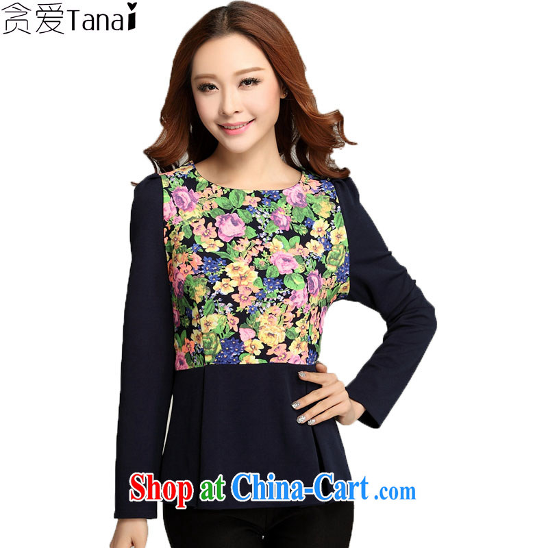 Loved spring new women with thick MM cultivating King, thick, graphics thin skirts swing long-sleeved shirt T solid shirt 3399 dark blue XXXXL
