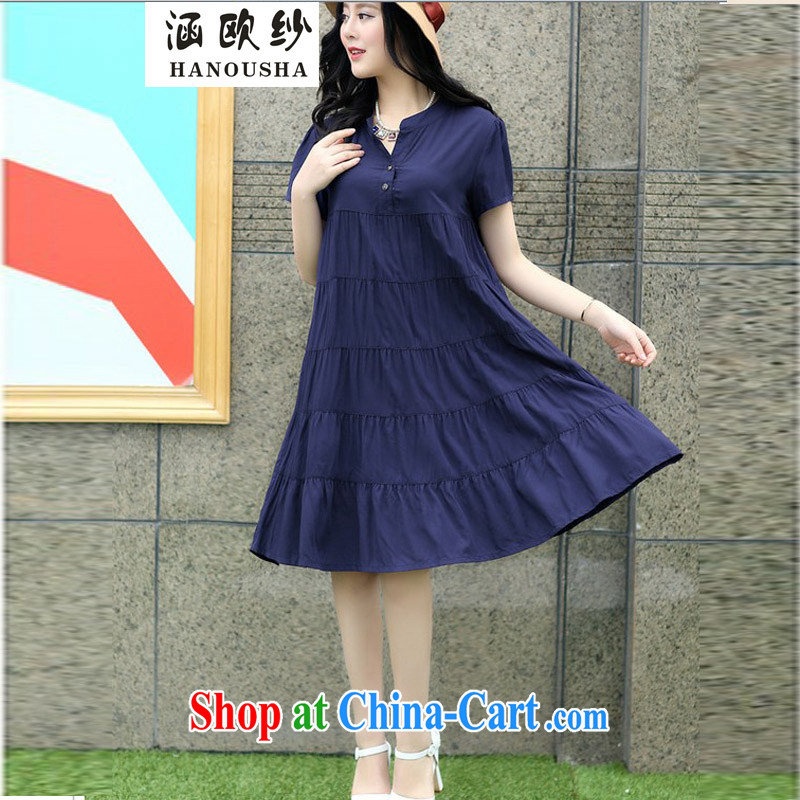 covered by the larger female 200 Jack the FAT and FAT mm video thin summer cotton dress pregnant women summer skirt stylish dark blue XXXXL