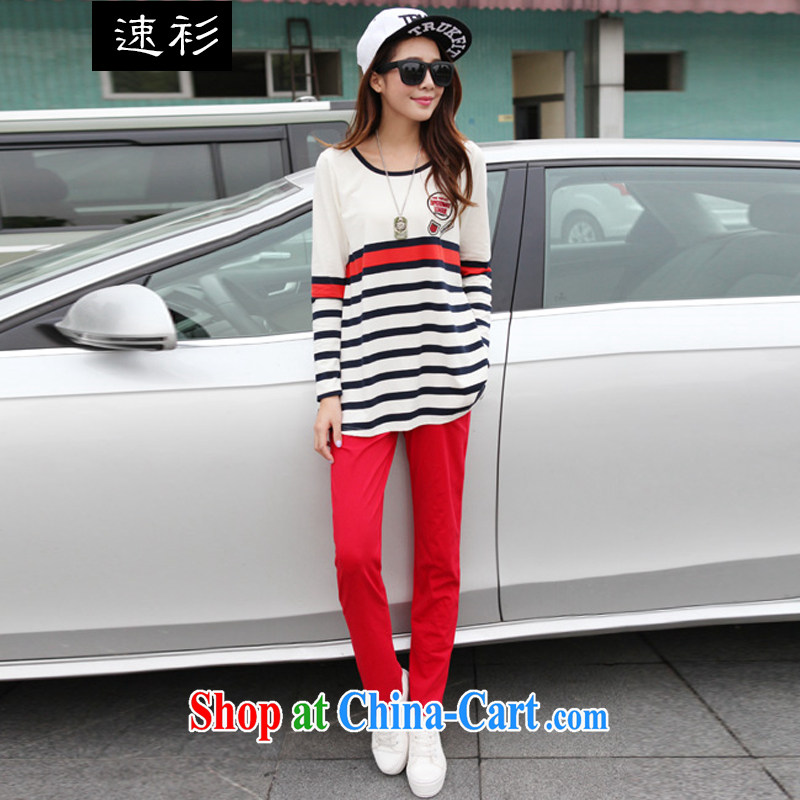 Speed T-shirt 2015 spring loaded the code female striped loose cotton long-sleeved two-piece sweater Kit female S 7831 red 4 XL