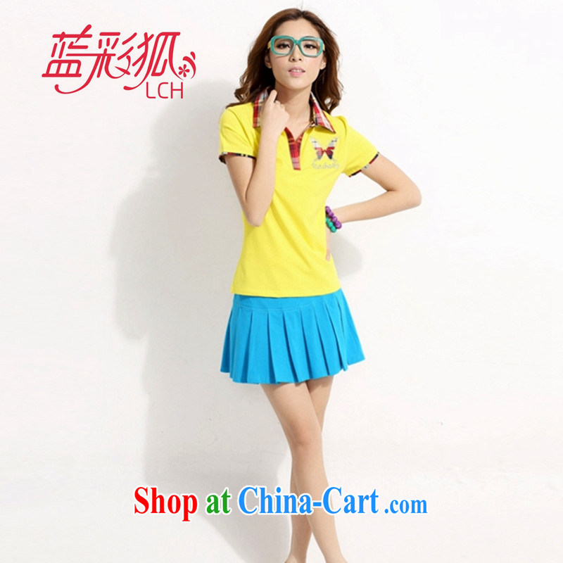 Blue Fox summer new Korean version lapel knocked color stamp short skirts trousers sport and leisure package the code uniforms female badminton Kit yellow XXL