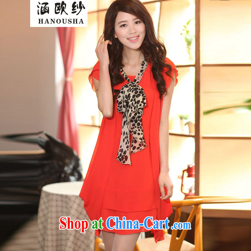 Covering the yarn thick MM summer 2015 the code female fat sister and indeed XL loose video thin new short-sleeved suits skirt red-orange XXXXL