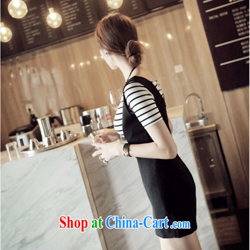 Blue Fox summer new European site retro a bare shoulders stripes short-sleeve shirt T fresh-shorts shoulder straps two piece set black XL