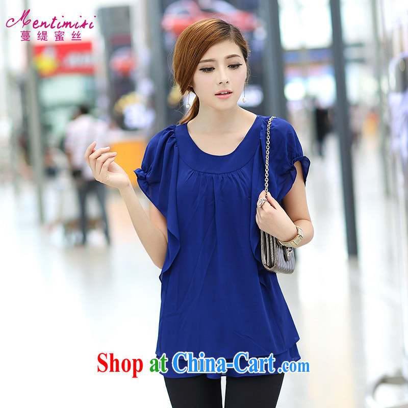 Mephidross economy honey, thick mm summer 2014 larger female new Korean version thick sister flouncing short-sleeved video thin ice woven shirts T shirt T-shirt 1685 large blue code XXL