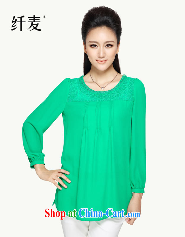 The Mecca is the Women's clothes fall 2014 with new thick mm lace long-sleeved T-shirt, large, snow-woven shirts 43,163 green 6 XL