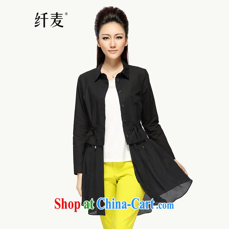 Slim, Mr Big, women fall 2014 with new thick mm stylish solid color long shirt girls long-sleeved T-shirt 43,219 black 2 XL