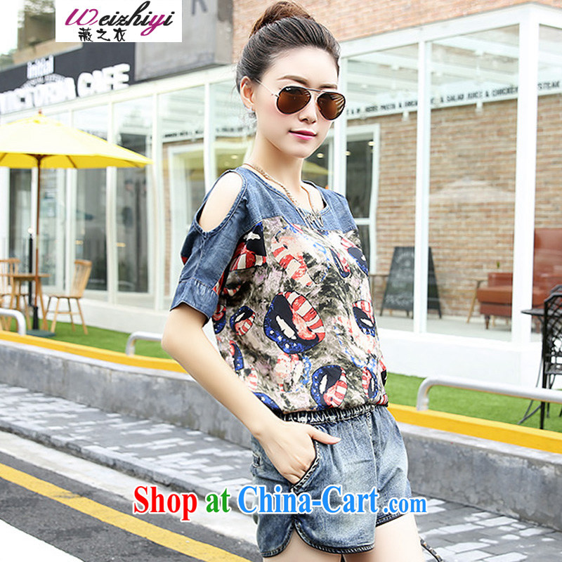 Ms Audrey EU's clothing summer 2015 new Korean loose the Code covered shoulders stamp snow woven stitching short two-piece denim Leisure package wzy 2935 nozzle-shaped pattern XXL