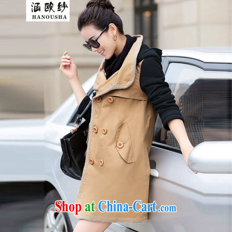 COVERED BY THE 2015 spring and autumn and spring loaded XL Korean female double-cap style for leisure wind jacket khaki XXXL