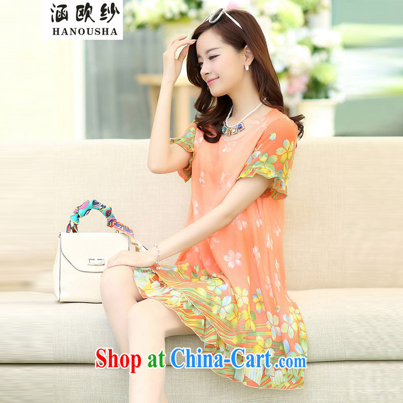 covered by the larger female 2015 spring and summer fashion the silk stamp dress the code mm thick loose video thin floral skirt peach XXXXL