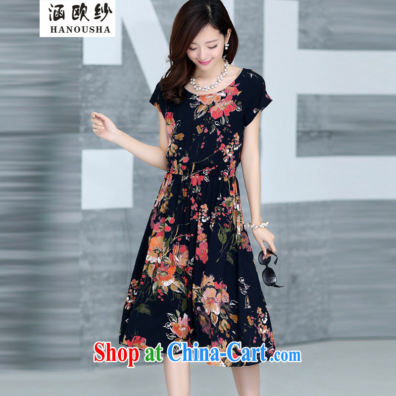 covered by the yarn thick mm summer is the girl with a short-sleeved cultivating pure cotton style dresses mother load chopper suit the knee long skirt red rhododendron XXXXL