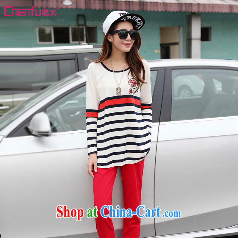 Morning would be spring 2015 new Korean version thick mm larger female cotton-colored round-collar Breathable sports, clothing and stylish lounge dynamic two-part kit knocked color streaks red 4 XL recommendations 160 - 180 jack
