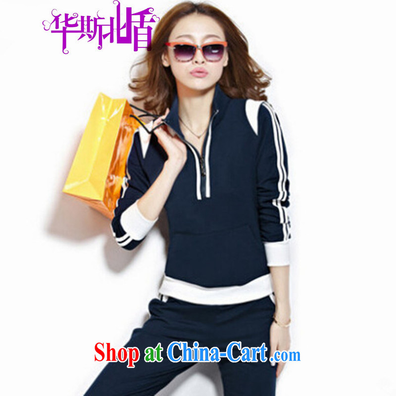 Autumn new female long-sleeved sweater Leisure package sweater long-sleeved cotton sportswear Po blue XXL