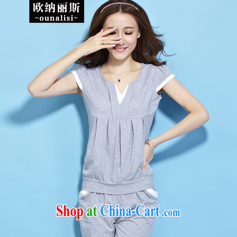 The OSCE, Alice, Sport Kits female summer Korean version the code short-sleeved Leisure package Women summer 2015 summer new gray S