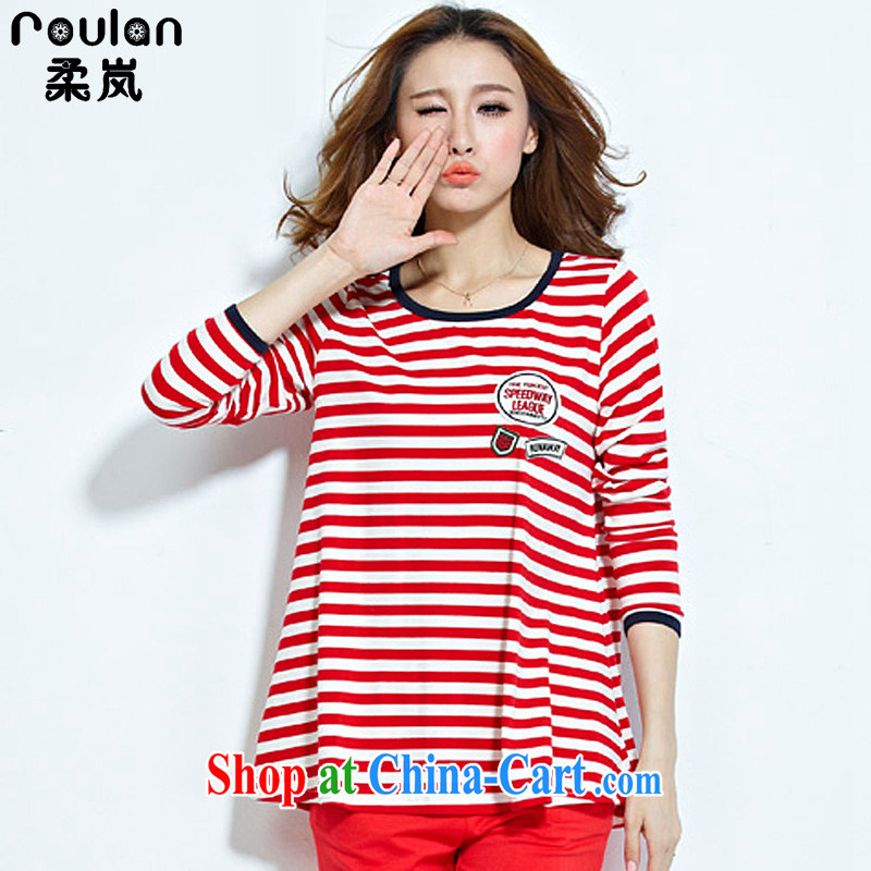 Sophie proposal 4 XL 2015 spring and summer new women new explosions, Korean version of the greater code female thick MM pure cotton stripe sport and leisure suite 7128 red 4 XL