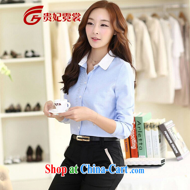 2015 mm thick spring new king, female Korean shirt embroidered knocked color collar long-sleeved shirt career and indeed XL solid shirt A 176 days cyan 4 XL