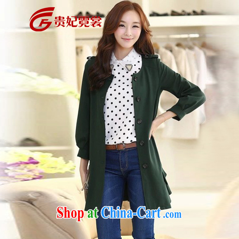 King, women's coats thick mm Autumn with new, and indeed increase, cultivating graphics thin 9 200 cuff Jack relaxed, long jacket coat A 181 dark 4 XL