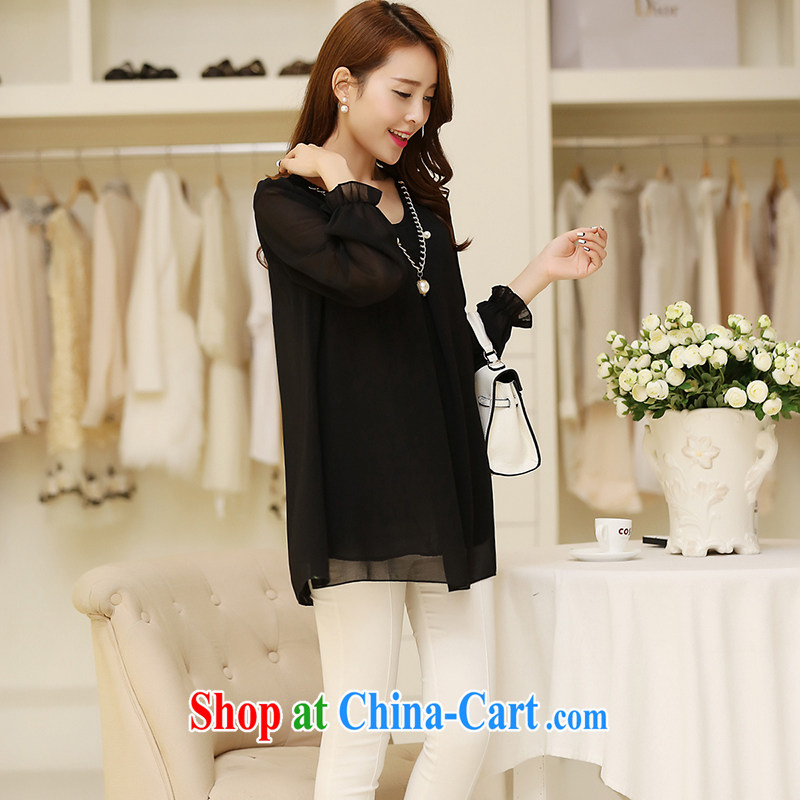 In particular, Anne Julia spring 2015 new products, Korean snow woven shirts long-sleeved T-shirt girls thick mm larger female snow-woven shirts and snow-woven shirt black XXXXL