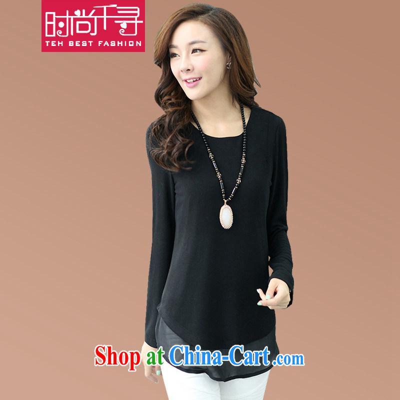Stylish 1000 hunt 2015 spring new loose larger female T shirt leisure solid T-shirt T-shirt S 46,823 black XXXL