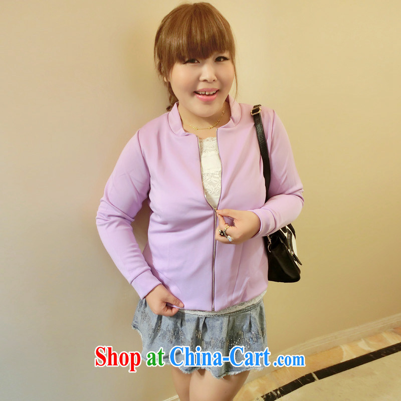 Yet the Addiction, female fat MM autumn 2014 the new Korean solid color simple loose video thin coat 7573 purple XXL