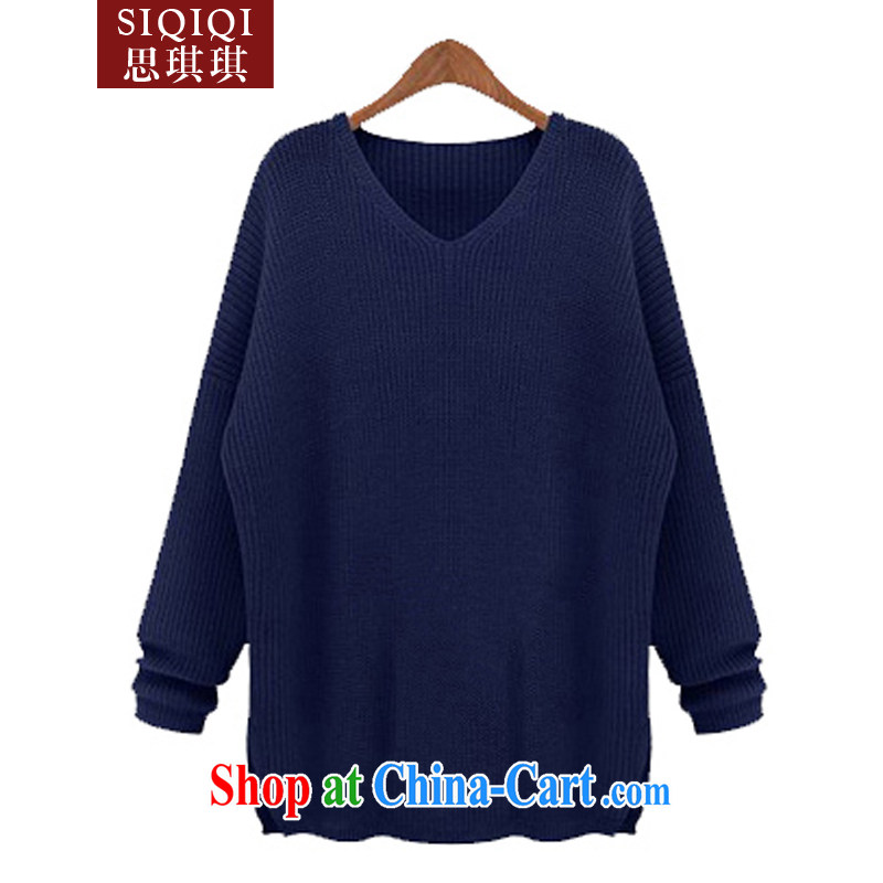 The Qi Qi _SIQIQI_ Spring 2015 new in Europe and America, the female thick MM stylish loose knit sweater sweater ZZS 1011 dark blue 4 XL