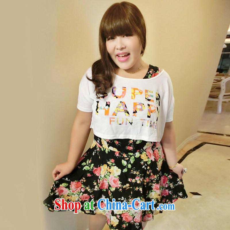 Yet the Addiction, female Korean XL female graphics thin floral snow woven dresses two piece summer 8620 white XXL