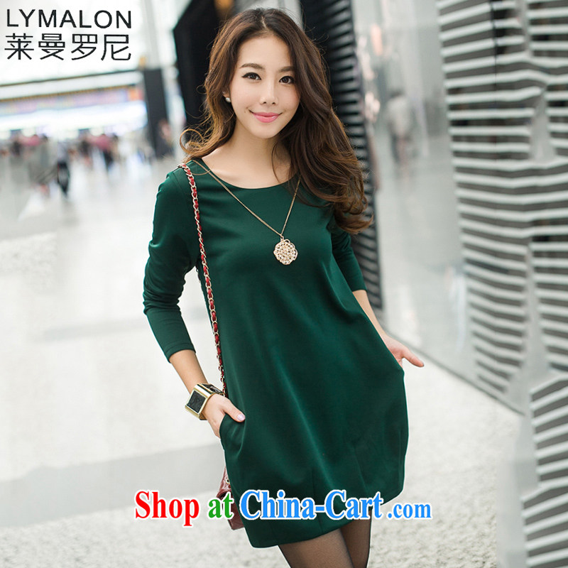 Lehman Ronnie lymalon fat people graphics thin 2015 autumn new Korean version the code girls decorated in a relaxed atmosphere and stylish dresses 7116 dark green XXXXL