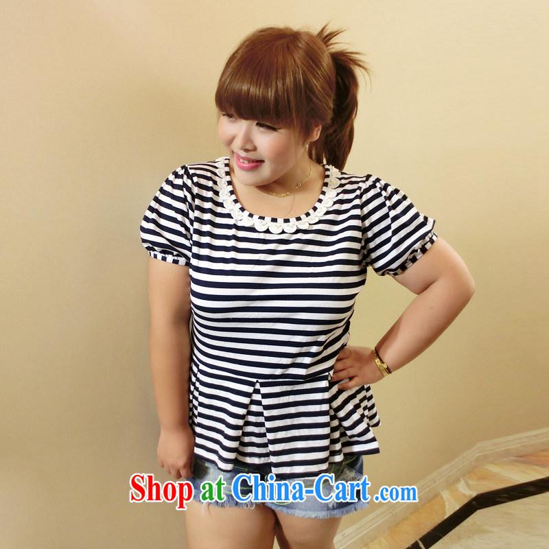 Drug addiction is the code female King, female 200 Jack summer stripes graphics thin Korean T-shirt short-sleeved 9542 streaks XXXL