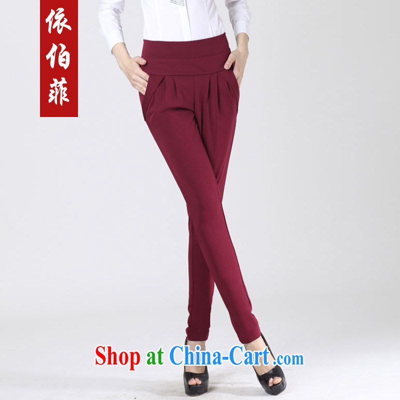 According to the Philippines 2015 new thick MM larger women Beauty Stretch video skinny legs, Trouser Press career with female pants solid pants female Y 013 wine red 4 XL
