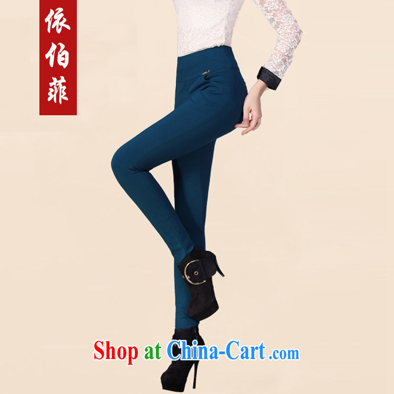 According to the Donald Rumsfeld fall and winter new Korean version 4 the high pop-up thick MM larger graphics thin hip castor solid pants boots pants female Y 015 dark blue 5 XL