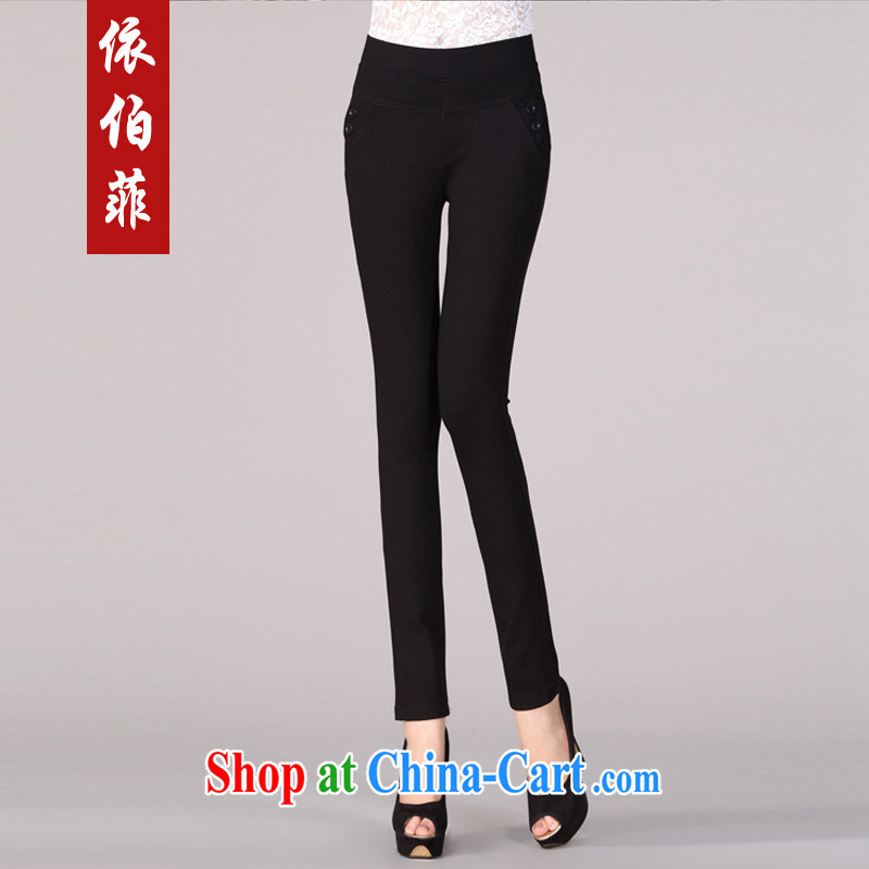 In accordance with the Philippine Korean winter new spring beauty graphics thin solid pants girls pants thick MM XL pants female Y 017 black 5 XL