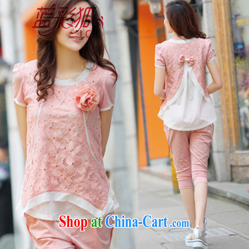 Blue Fox summer new Korean American and European style lounge stylish lace snow woven stitching with the Code 7 pants short-sleeved Kit pink L