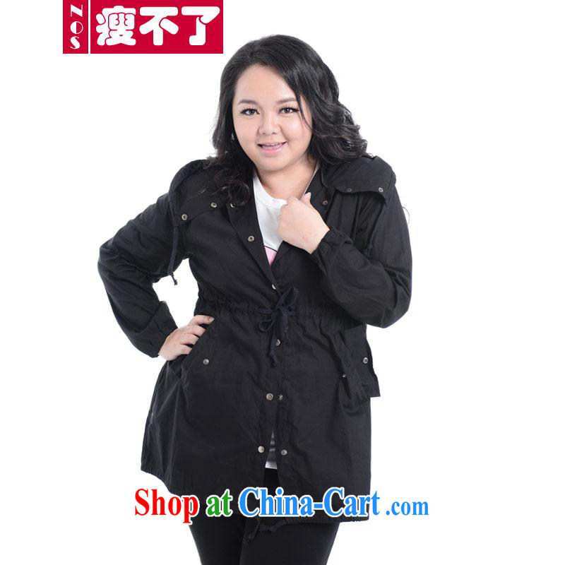 Thin _NOS_ thick MM dress XL female loose video thin thin wind jacket coat A 3861 black 2 XL_200 about Jack