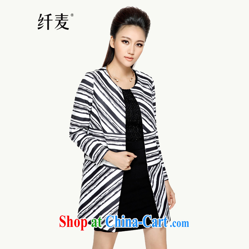 Slim, Mr Big, women fall 2014 with new thick mm stylish Korean black-and-white stripes, long jacket, 43,257 black-and-white stripes 5 XL