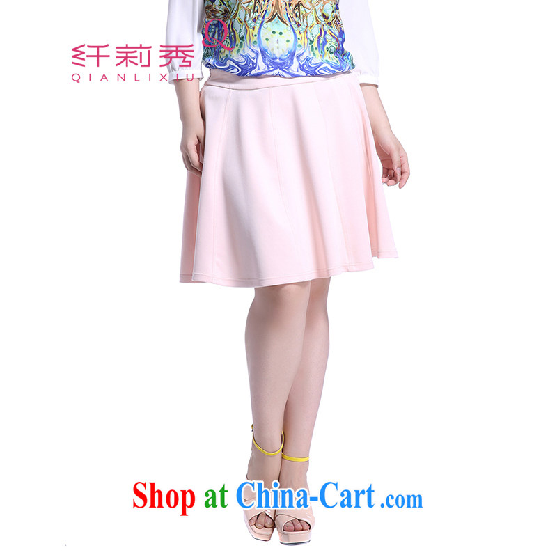 Slim Li-su 2014 fall and winter new XL women mm thick solid color bars flouncing with mini-bust skirt Q 5118 pink 5 XL