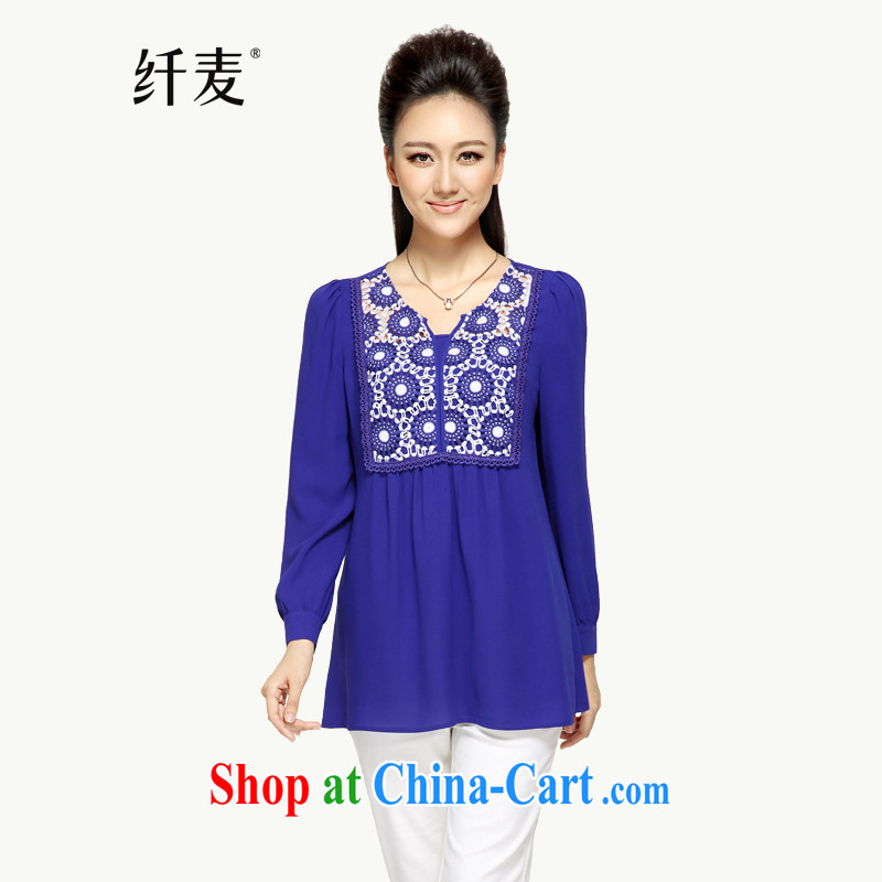 Slim, Mr Big, women fall 2014 with new thick mm stylish lace the fat XL snow woven shirts 43,283 blue 4 XL