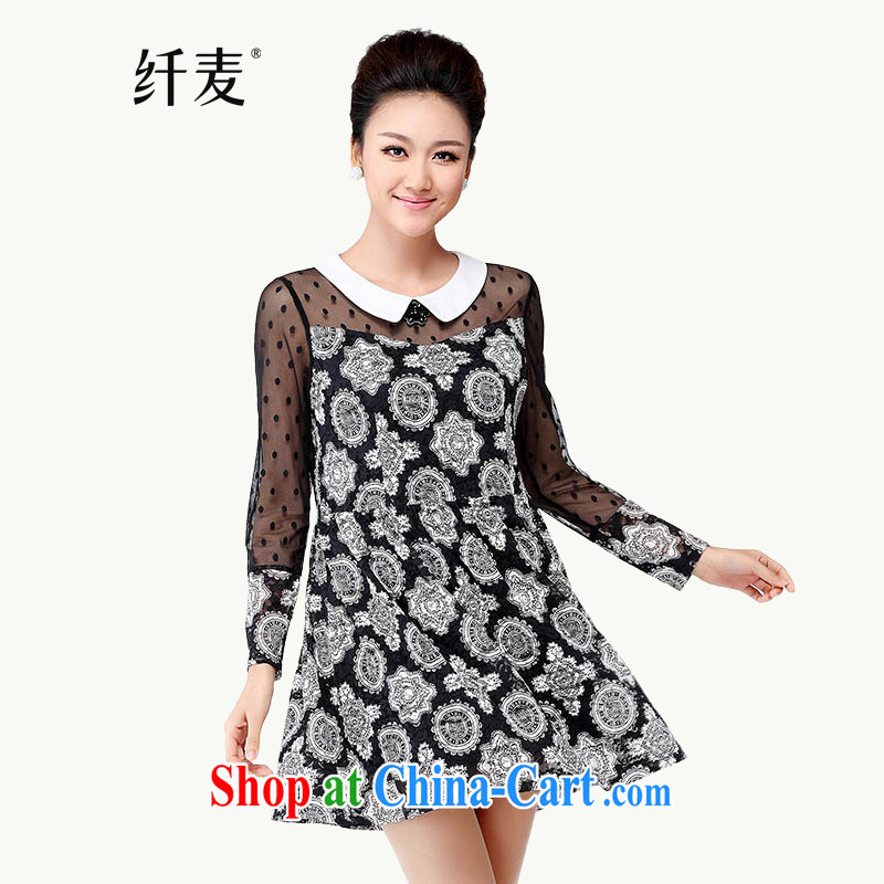 The Mak is the women's clothing fall 2014 with new thick mm stylish retro floral fluoro long-sleeved dress 4396 black and white 5 XL