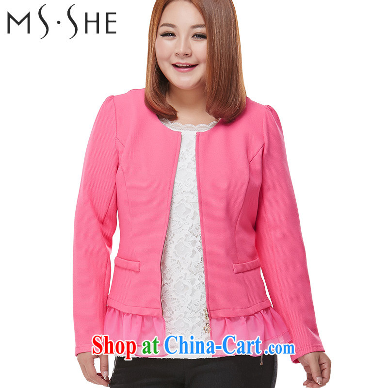 MsShe XL women's coats thick MM 2015 spring new long-sleeved stitching snow woven cardigan graphics thin 7599 red 6 XL