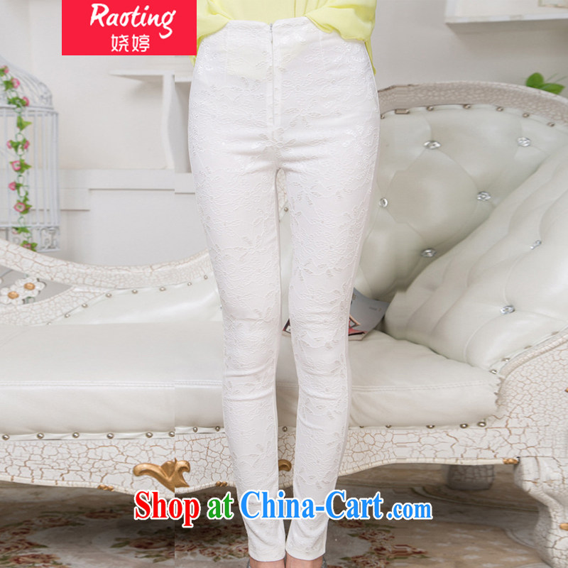 Ting, Autumn 2014 the new lace casual trousers large, thick MM thin stretch cultivating castor solid Trouser press 6107 white XL
