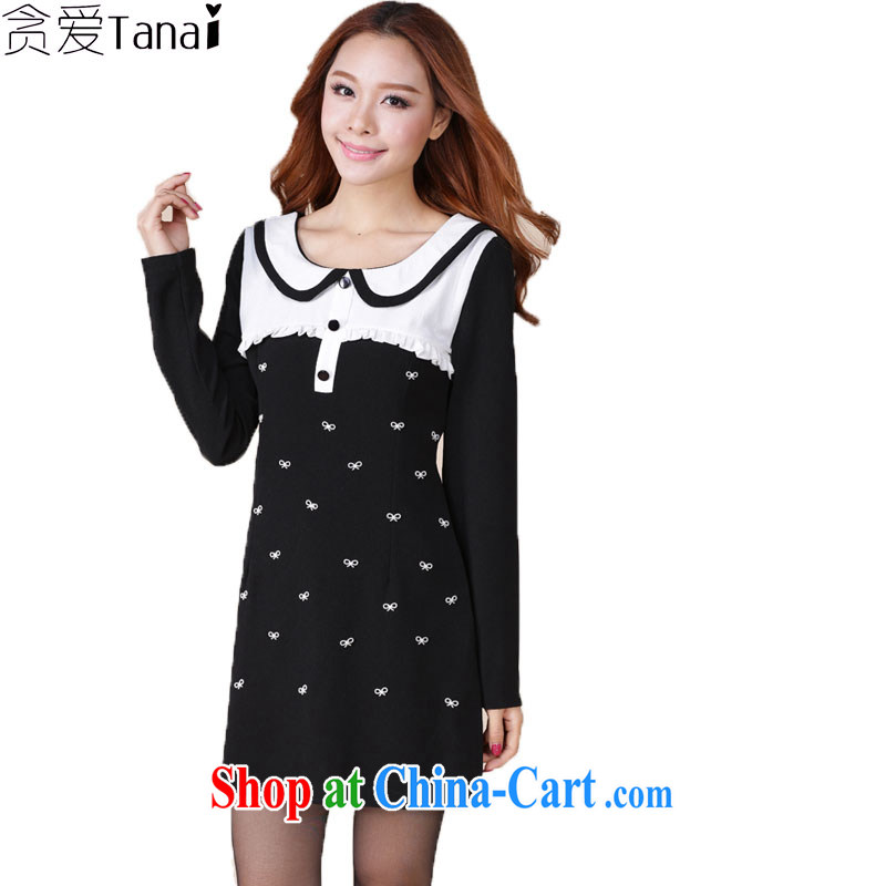 Loved 2015 spring new and indeed XL female temperament thick mm video thin long-sleeved dresses 116 black XXXXL
