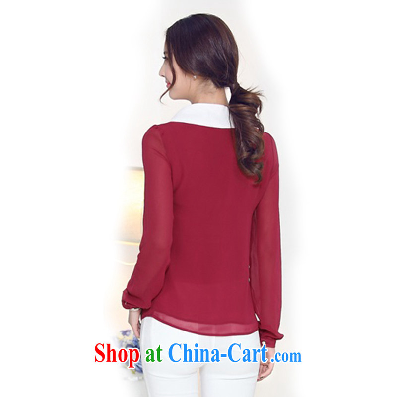 In short light 2015 King, female spring new Snow woven shirts girls long-sleeved baby for thick, graphics thin, snow-woven shirts female S 1501 wine red 4 XL, shallow, and shopping on the Internet