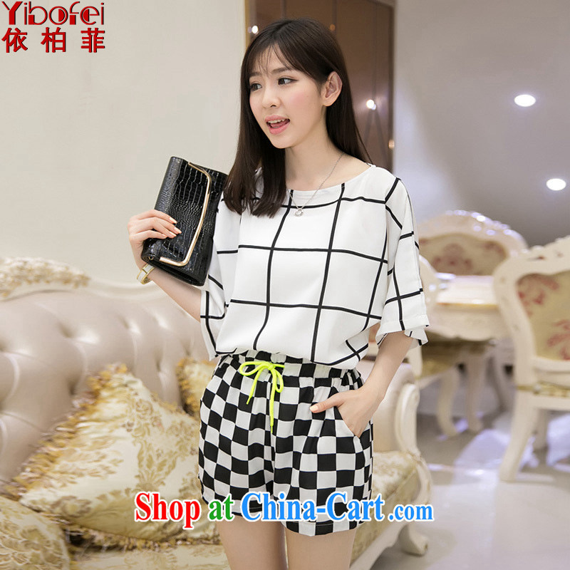 According to the Philippines 2014 new thick MM loose the code graphics thin black-and-white grid bat sleeves snow woven package leisure two-piece female Y 030 white XXXL